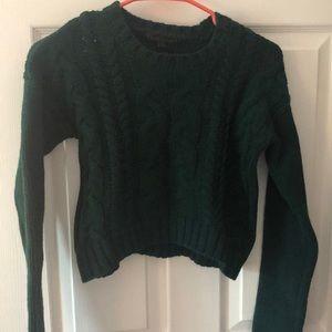 Cropped dark green sweater